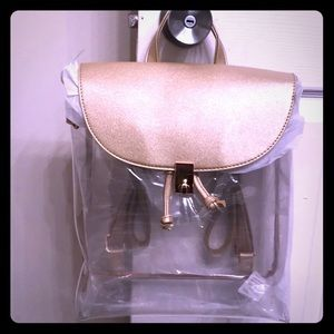 Handbags - Clear champagne colored backpack